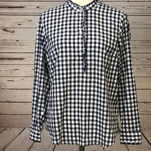 Talbots Tops - Talbots Small Gingham Tunic Top Ruffle Blue